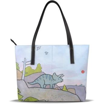 トートバッグ レディース 恐竜柄 動物柄 ハンドバッグ ショルダーバッグ 手提げバッグ 大容量 収納バッグ ビジネスバッグ マザーズバッグ 防水 軽量 多機能 贈り物 通勤 通学 旅行