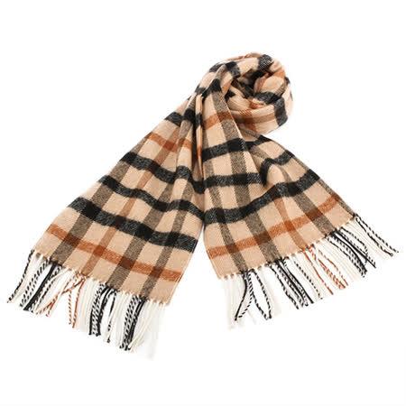 DAKS 經典格紋100%羊毛圍巾-卡其色