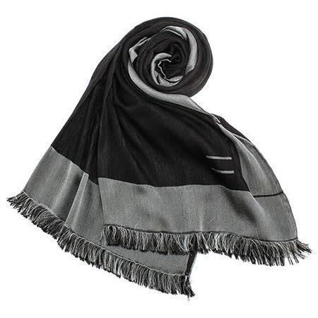 ARMANI COLLEZIONI 素面雙色流蘇薄圍巾-灰/黑色