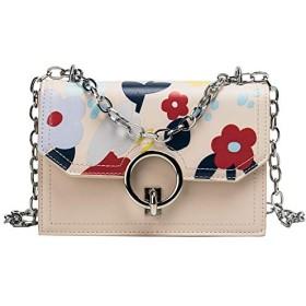 女の子の小さなバッグ新しいファッション野生のシングルショルダーメッセンジャーバッグチェーン小さな正方形のパッケージ潮 (Color : Beige)