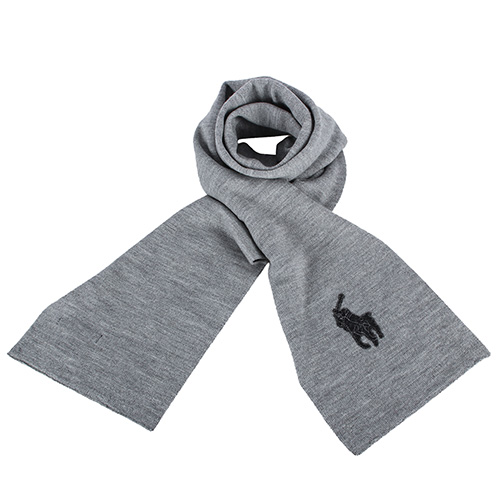 RALPH LAUREN POLO  大馬LOGO素面雙色羊毛圍巾-灰/黑色