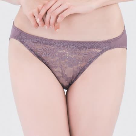 【思薇爾】微醺心戀系列M-XL蕾絲低腰三角內褲(水銀紫)