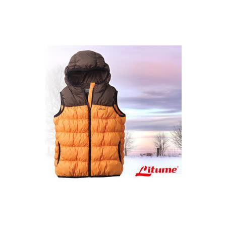 【意都美 Litume】兒童新款 立體配色輕量防潑水透氣連帽保暖羽絨背心(熱賣款)_桔 C800