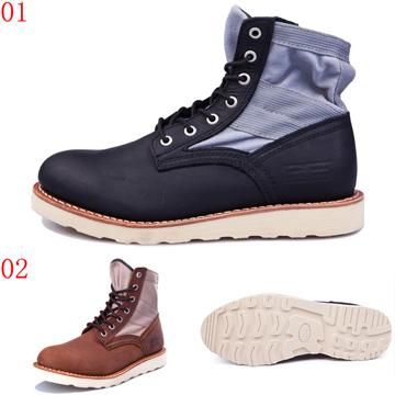 pathfinder口67104口潮流短筒工裝馬丁靴登山靴男真皮帆布拼接戶外沙漠靴JHS杰恆社