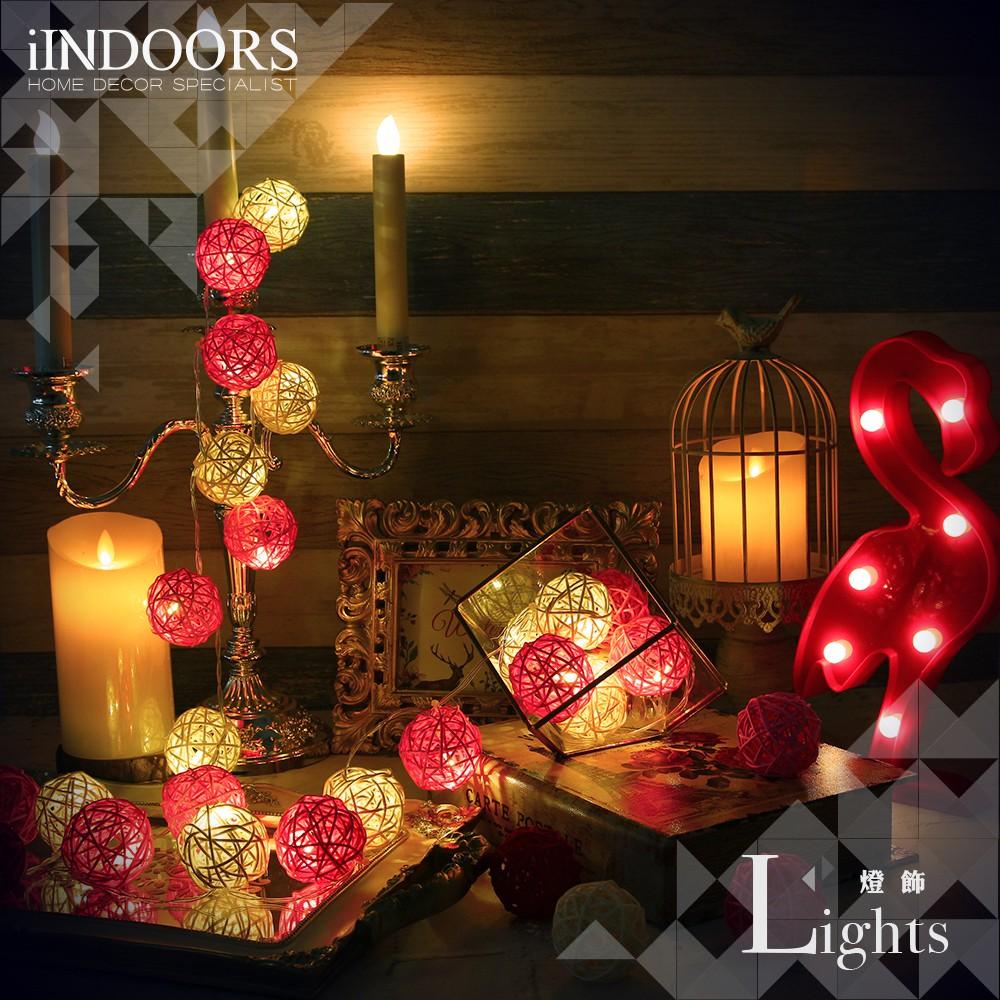 英倫家居 創意籐球燈飾燈串 粉紅佳人 電池款 LED氣氛燈 聖誕節交換禮物 情人節 浪漫婚禮 生日派對 似棉球燈