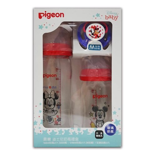 貝親Pigeon 迪士尼奶瓶禮盒(米奇米妮)(160ml+240ml+安撫奶嘴)★衛立兒生活館★