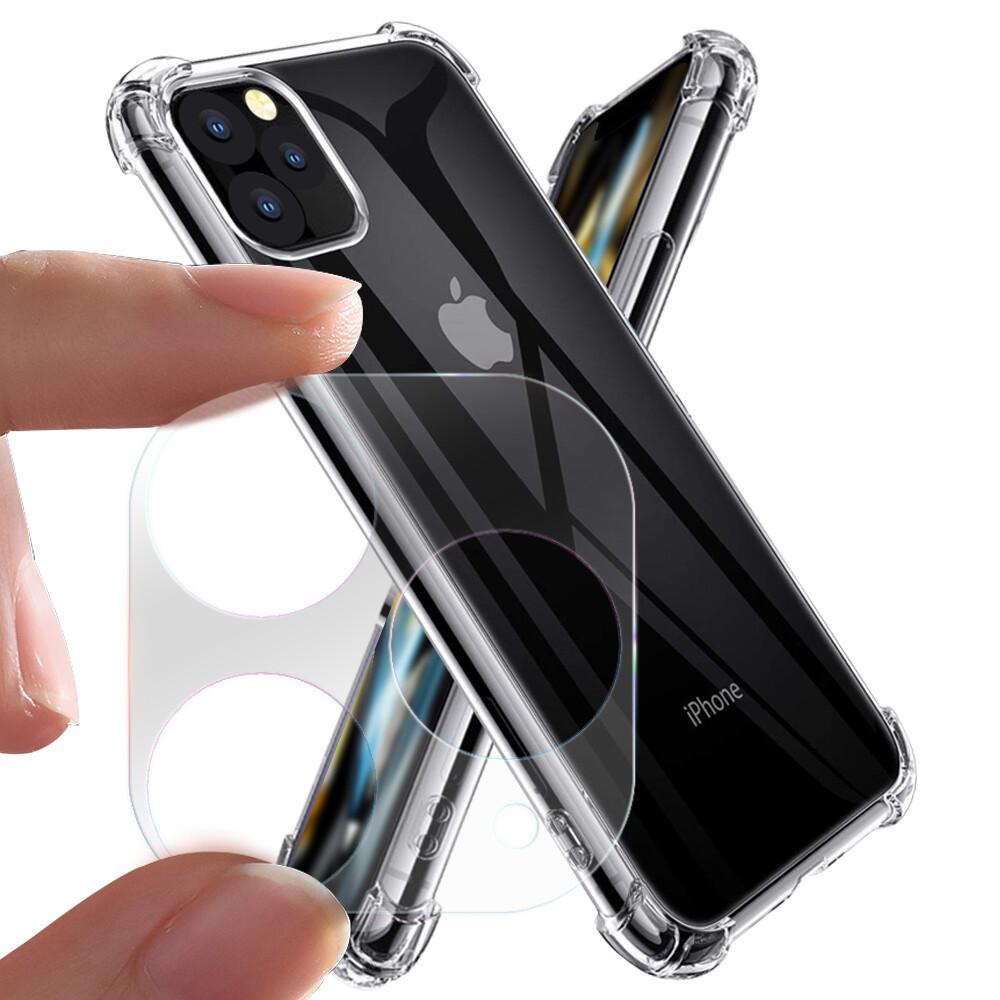 xmart for iphone 11 pro max 6.5吋加強四角氣墊殼+一體成型鏡頭貼 組合