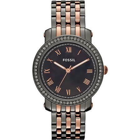 FOSSIL 羅馬情緣晶鑽腕錶-黑珍珠貝x雙色版 ES3115