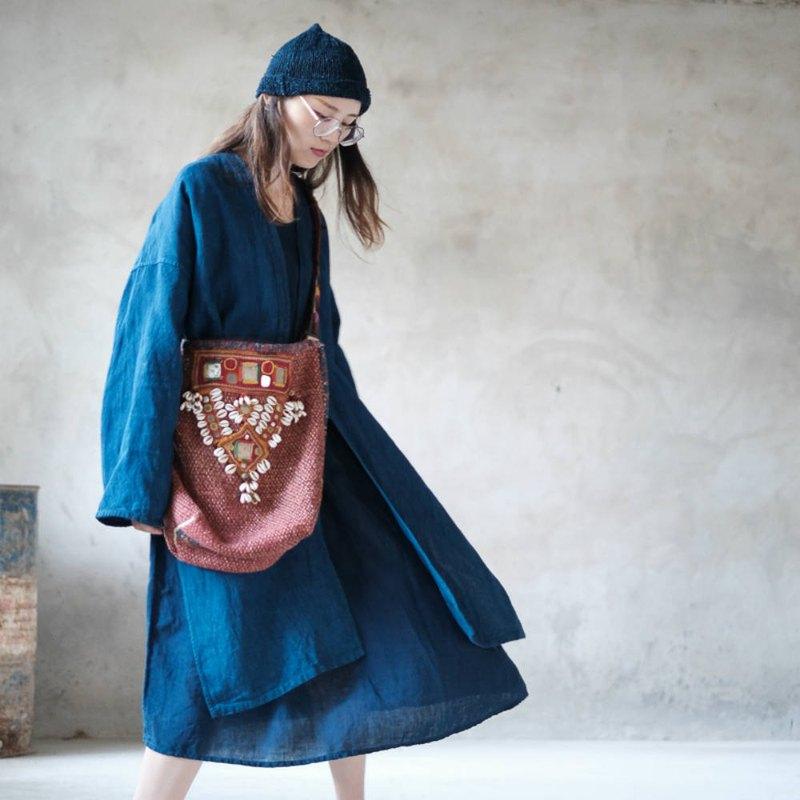 消失 | 雨露麻質日式亞麻寬鬆長袍 中性男女情侶禪意開衫外套