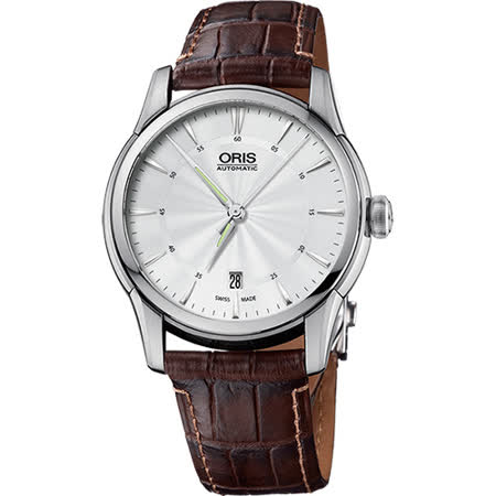 ORIS豪利時 Artelier Date 藝術家機械錶-銀x咖啡/40mm 0173376704051-0752170FC