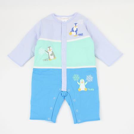 【愛的世界】LOVEWORLD 企鵝樂園系列純棉舖棉衣連褲-天藍色/6個月~2歲-台灣製-