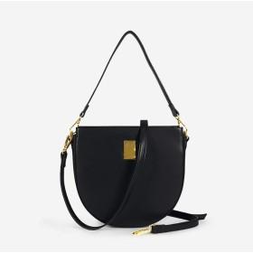 女性のソリッドカラースクエアバックルショルダーバッグ絶妙なPUレザークロスボディバッグスタイリッシュなハンドバッグ財布スモールクラシックレディースショルダーストラップバッグ - 可愛い 小物入れ (Color : Black, Size : (22cm x 6cm x 22 cm))
