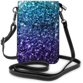 多機能レザー電話財布、軽量スモールショルダークロスボディポーチ、女性用調節可能ストラップ付きトラベルバッグ、オンブルグリッタースパークル