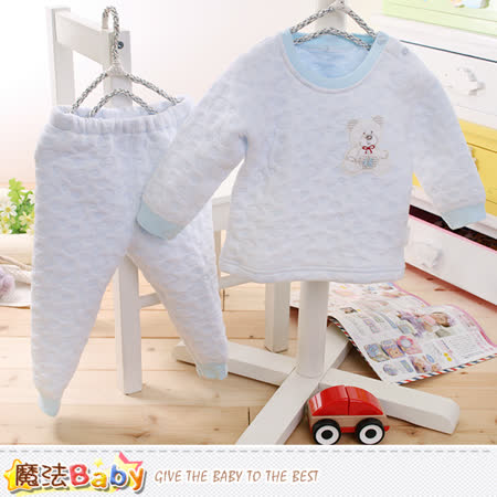 魔法Baby 寶寶居家套裝 專櫃款超厚三層棉極暖睡衣套裝 k60192
