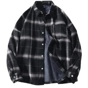 Beeatree メンズプレイドフリースロングスリーブターンダウンカラードレスシャツ Black 2XL