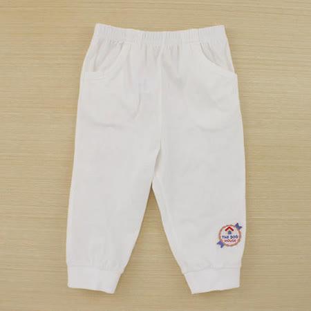 【愛的世界】MYBABY 小狗三兄弟系列鬆緊帶純棉長褲-白色/6個月~2歲-台灣製-