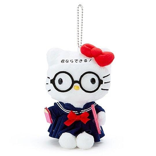 〔小禮堂〕Hello Kitty 制服絨毛玩偶娃娃吊飾《藍白》掛飾.鑰匙圈 4901610-93342