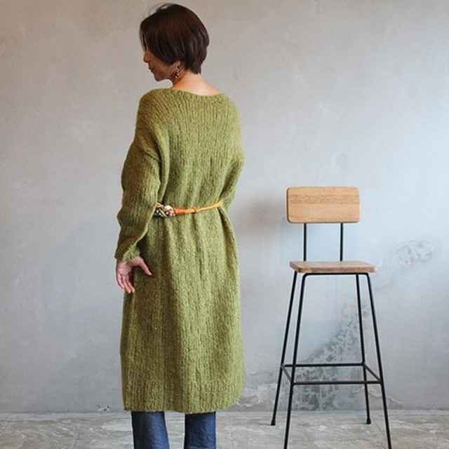 手編みモヘアロングワンピース オリーブ