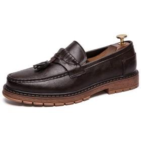 [GERUIQI] パーソナリティヴィンテージ英国スタイルクラシックタッセルフォーマルシューズメンズファッションオックスフォードカジュアル 快適な男性のために設計 (Color : 褐色, サイズ : 24.5 CM)