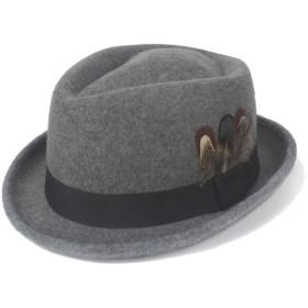 レディースファッションFedora帽子冬フェルトウール3羽装飾ジャズ帽子男性レトロパナマ教会帽子 ハット (色 : Navy Gray, サイズ : 56-58CM)