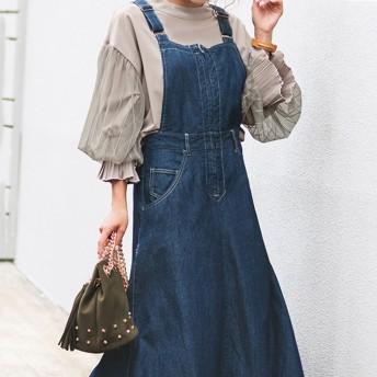 ベルーナ デニムマキシジャンパースカート ブルー系 LL レディース