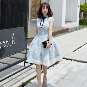 プレミアム なレースお呼ばれ発表会披露宴結婚式誕生日会舞踏会成人式プリンセスパーティードレスミニ丈ワンピース上品韓国ファッションファスナー編み上げドレス