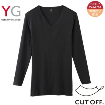 GUNZE グンゼ YG(ワイジー) 【CUT OFF】【KEEP WARM】Vネック9分袖シャツ(V首)(メンズ)【SALE】 オフホワイト L