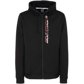 《セール開催中》TOMMY SPORT メンズ スウェットシャツ ブラック S ポリエステル 95% / ポリウレタン 5% FLEECE ZIP UP HOODIE