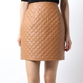 リゼクシー RESEXXY キルティングフェイクレザータイトスカート (ブラウン)