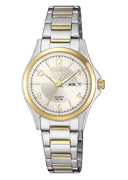CITIZEN 星辰錶 EQ0595-55A PAIR系列 簡約時尚風範石英腕錶/金x銀 27mm