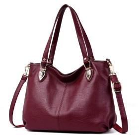 HAOSQ 女性用バッグファッション女性用バッグソフトレザーメッセンジャーバッグハンドバッグ-ブルゴーニュ