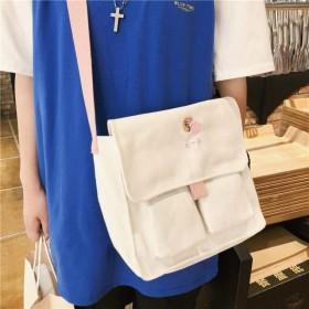 軽量キャンバスバッグ女子学生バッグ日本韓国ショルダーバッグ文学ドレスブックメッセンジャーバッグメッセンジャーバッグ女性野生-ホワイト