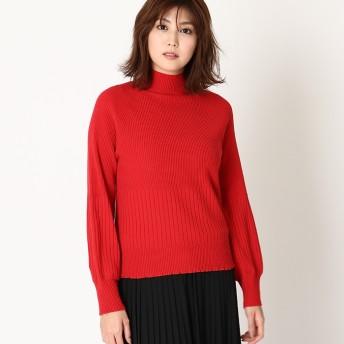 ベルーナ もちもちパフ袖裾フリルニットプルオーバー ブラウン M レディース