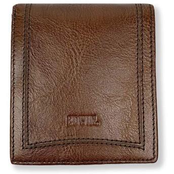 EDWIN エドウイン リアルレザー 中ベラ付き 二つ折り財布 ショートウォレット(ed502) (チョコ)