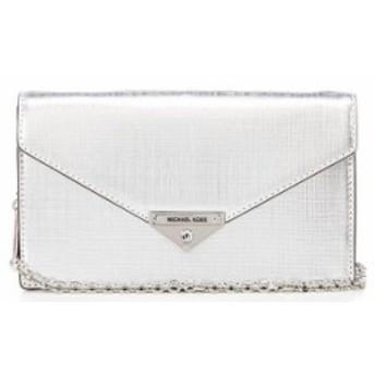 マイケルコース レディース ハンドバッグ バッグ Grace Metallic Medium Envelope Clutch Silver
