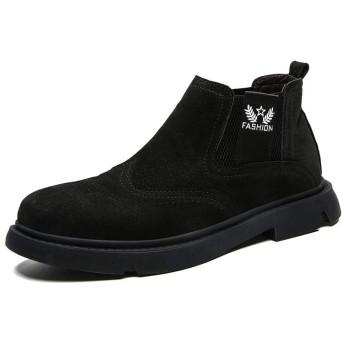 [GoldFlame-JP] サイドゴアブーツ メンズ ショートブーツ ワークブーツ レザー 履きやすい ウイングチップ 焦がし加工 裏起毛 保温 防寒靴 ハイカット 厚底 滑り止め クッション性 大きいサイズ 冬 ブラック