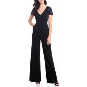 カルバンクライン レディース ジャンプスーツ トップス Embellished Sleeve Scuba Crepe Wide Leg Jumpsuit Black