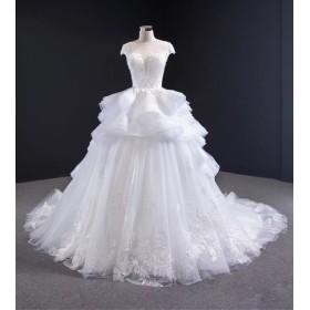 新作 素敵 綺麗なフリル カット トレーン 本命ウエディングドレス バンドメイドの美しさ 結婚式 海外挙式パーティー