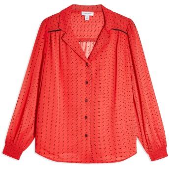 《セール開催中》TOPSHOP レディース シャツ レッド 6 ポリエステル 98% / ナイロン 2% RED SPOT FLOCKED SHIRT