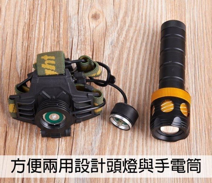 27048-137-興雲網購【L2兩用頭燈2600mAh配套(藍】CREE XM-L2強光魚眼手電筒 頭燈 工作燈