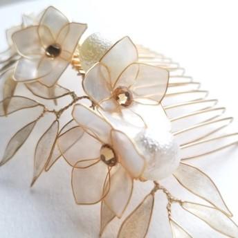 雪柳の小枝の簪コーム/ヘッドドレス