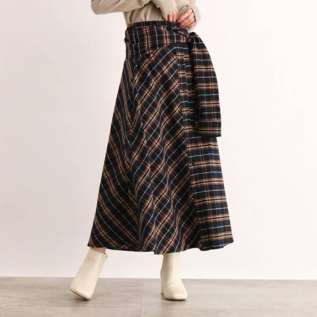 オゾック OZOC [洗える]ウエストリボンチェック柄スカート (ディープネイビー)