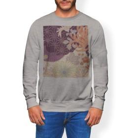 igsticker プリント トレーナー メンズ 長袖 スウェット 裏起毛 メンズ S サイズ size おしゃれ クルーネック グレー 灰色 012295 和 和柄 花