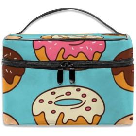 ドーナツ柄 青い背景 化粧ポーチ 化粧品バッグ 化粧品収納バッグ 収納バッグ 防水ウォッシュバッグ ポータブル 持ち運び便利 大容量 軽量 ユニセックス 旅行する
