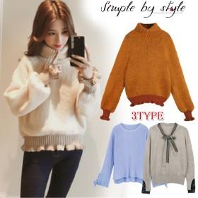 韓国ファッション 選べる天使の肌触り ベルト ニットソ セーター ニットソー リブ編み フィットライン