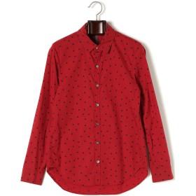 【50%OFF】タイプライター ドットプリント 長袖レギュラーカラーシャツ レッド 1