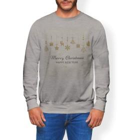 igsticker プリント トレーナー メンズ 長袖 スウェット 裏起毛 メンズ XS サイズ size おしゃれ クルーネック グレー 灰色 016358 クリスマス 星