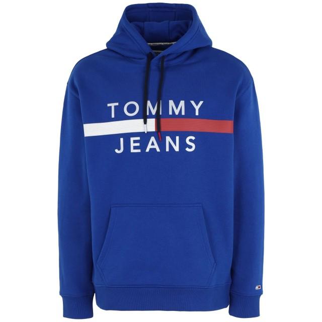 《セール開催中》TOMMY JEANS メンズ スウェットシャツ ブライトブルー S コットン 56% / ポリエステル 44% TJM REFLECTIVE FLAG