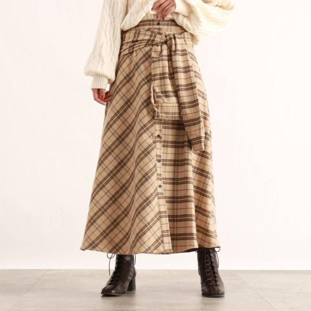 オゾック OZOC [洗える]ウエストリボンチェック柄スカート (ベージュ)
