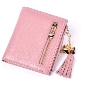 ショートレディースレザーウォレットショートレザーレディースウォレットウォレットレディースレザー2つ折り財布 - 小さい コンパクト (Color : Pink)